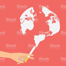 World Map Flat by Human Hand Holding A Cigarette With Smoke Like Globe World Map For
