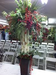 birch branch and berry topiary christmas floral arrangements