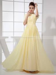 light yellow prom dresses chiffon a line prom dress with half sleeves and floral details