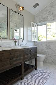 Marble Bathroom Designs by The Rustic Wood Vanity Is A Striking Contrast To The Extravagant