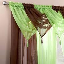 Lime Green Valance Plain Tasselled Voile Swag Net Valance Pelmet For Curtains