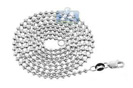 white gold bead necklace images 14k white gold army moon cut ball mens beaded chain 2 mm jpg