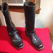 mens black motorcycle riding boots vtg men u0027s 10d black motorcycle biker harness goodyear boots