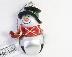 silver personalized jingle bell snowman ornament click