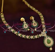 stone necklace designs images Nl9414 simple thin green white stones gold design gold plated JPG