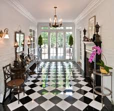 black and white marble floor entry traditional with black and