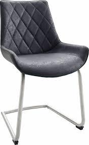 Esszimmerstuhl Italienisch Stühle 2 Stück Grau Schwinger Pflegeleichtes Kunstleder