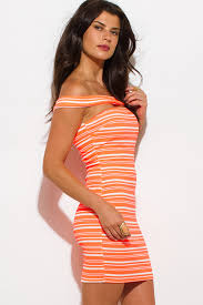 shop wholesale womens neon coral orange striped textured off the
