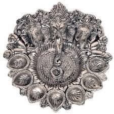 Silver Items White Metal Ganesha Silver Idol With Dia Pooja Items Homeshop18