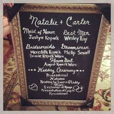 chalkboard wedding program wedding ceremony chalkboard