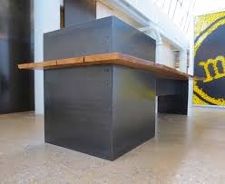 Modern Metal Desks by Hand Made Metal U2013 Modern Industrial Plate Steel Reception Desk