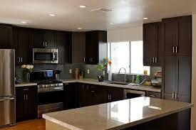 rancilio silvia v3 kitchen with dark wood cabinets dark wood
