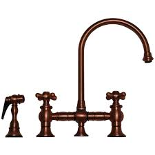 Copper Faucets Kitchen by Whitehaus Whkbcr3 9101 Deck Mount Bridge Kitchen Faucet With Side