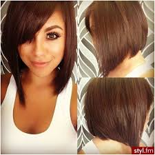 front view of side swept hairstyles cute side view of asymmetrical bob hairstyle with side swept bangs