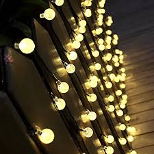 outdoor string light chandelier solar outdoor string lights 19 7 ft 30 led warm white crystal ball