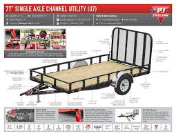 Utility Bed Trailer 77 Inch Single Axle Channel Utility U7 Trailer Country