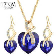love crystal necklace images Love crystal heart jewelry sets for women mubarak jpg