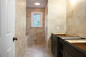 Narrow Bathroom Floor Cabinet by Magnificent Narrow Bathroom Floor Plans Using Stained Ceramic Tile