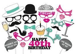 Photo Booth Prop Ideas 40th Birthday Photobooth Party Props Set 26 Piece Printable