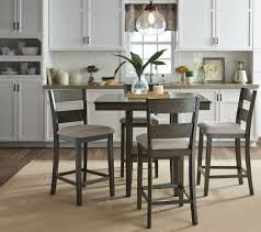 dining room 3 piece counter height grey dining set with flower