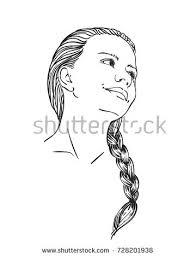 face beautiful vector sketch hand stock vector 739724362