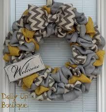 burlap wreath yellow gray and white gray chevron home decor