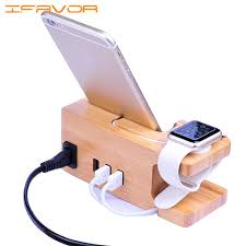 ifavor 3 port usb bamboo wood charging station for apple watch