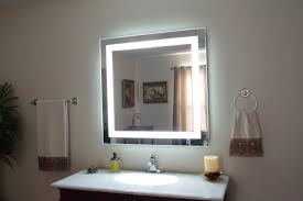 bathroom bathroom with luminous white led mirror with lights