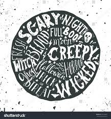 halloween hand lettering on round background stock vector