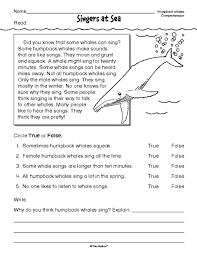 reading comprehension worksheet nonfiction whales reading word