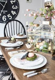 Easter Table Setting Farmhouse Easter Table Setting With Gold Lanterns Pink Flowers