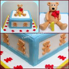 Bear Themed Baby Shower Cakes Teddy Bear First Birthday Cake Veena Azmanov