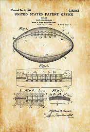 football ball patent patent print wall decor football art