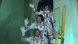 iss expedition 42 crew board soyuz tma 15m for launch youtube