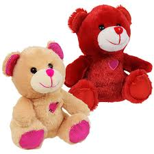 valentines bears bulk embroidered heart plush sitting bears 6 5 in at