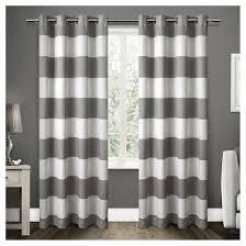 Linen Curtains With Grommets Set Of 2 Pair Santa Monica Cabana Stripe Linen Grommet Top