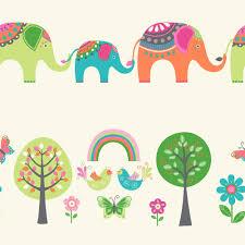 cream green u0026 orange elephants u0026 trees children u0027s wallpaper