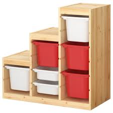 Ikea Storage Bins Furniture Wooden Ikea Toy Storage Filled With Red And White Boxes