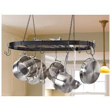 lighted hanging pot racks kitchen castlecreek wrought iron pot rack hangs from your ceiling for