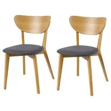 Tesco Armchairs Buy Stockholm Oak U0026 Charcoal Upholstered Set Of 2 Dining Chairs