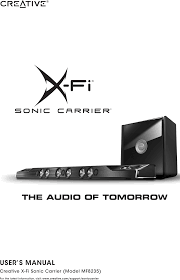 mf8235 creative x fi sonic carrier subwoofer user manual creative