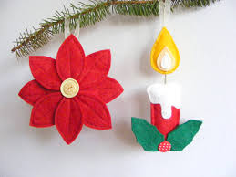 Flower Decorations For Christmas Tree pdf pattern set of two christmas tree ornaments candle with
