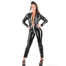leather jumpsuit pvc open crotch catsuit faux