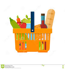 food basket delivery shopping basket with foods healthy organic fresh and fo