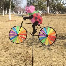 3d animal on bike windmill wind spinner whirligig garden lawn
