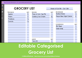 Word Grocery List Template Stunning Grocery List Form Ideas Office Worker Resume Sample