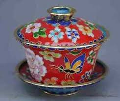 antique china cloisonne painted flower teacup lid ebay