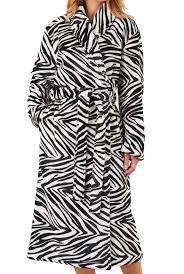 womens slenderella zebra print dressing gown super soft fleece