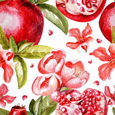 fruit and flowers beautiful watercolor pattern with fruits and flowers of