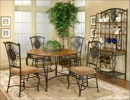 Rod Iron Dining Chairs Dining Room Decoration Using Round Wooden Top Wrought Iron Kitchen